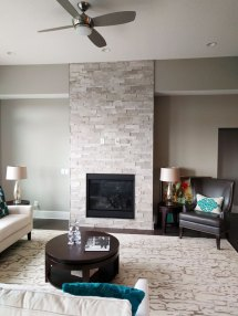 Ritz Gray Marble Cubic Ledgestone fireplace install