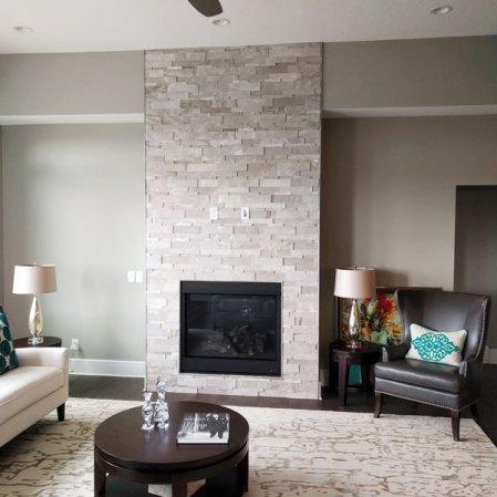 Ritz Gray Marble Cubic Ledgestone fireplace install