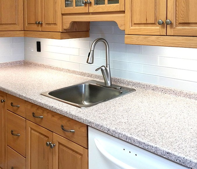 Element Ice 3x12 Kitchen Backsplash