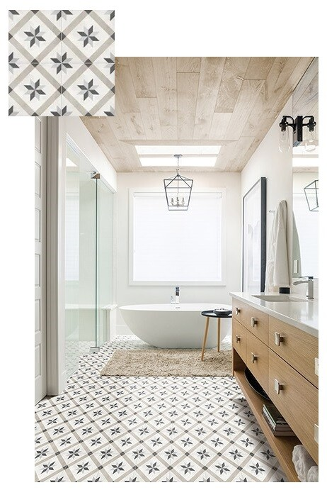 Bathroom with Form Compass Deco Tile patterned floor