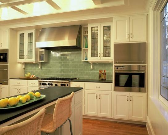 green glass tile kitchen backsplash Kitchens With COLOR: Green | TileTramp
