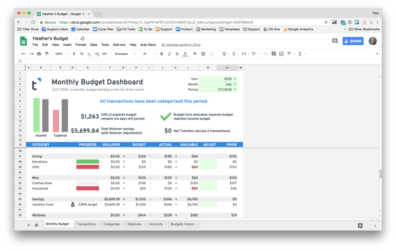 using the tiller budget google spreadsheet to track vacation savings
