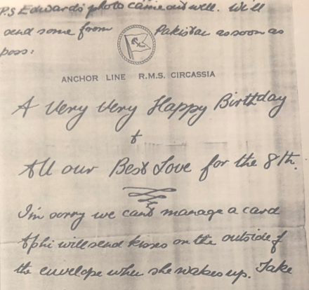 A Very Happy Birthday and lots of love: a section of a letter.