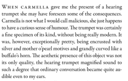 The opening paragraph of The Hearing Trumpet by Leonora Carrington