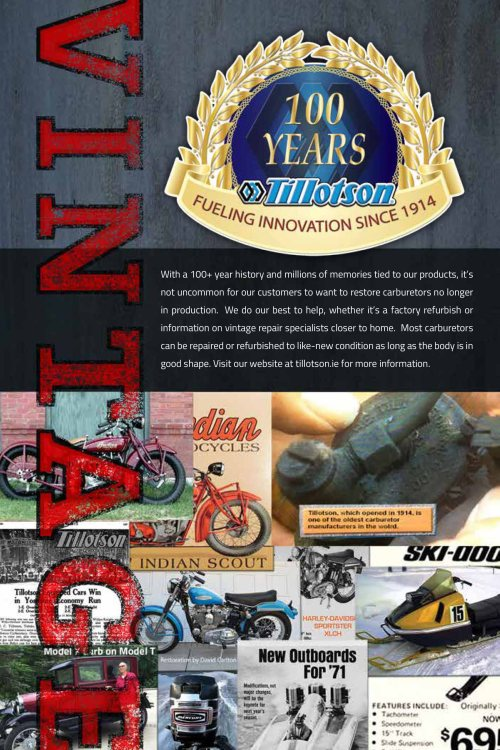 small resolution of with a 100 year history and millions of memories tied to our products it s not uncommon for our customers to want to restore carburetors no longer in