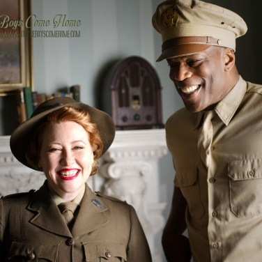 """Sally McLean as AWAS member """"Elsie"""" with Christopher Kirby as USA """"Captain Johnson"""""""