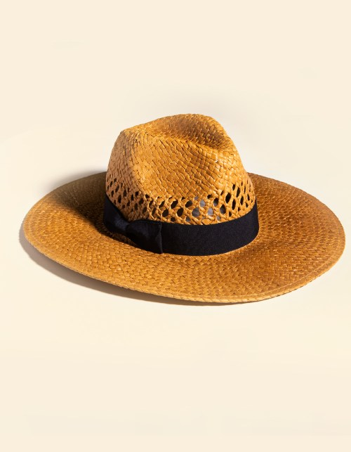 SAN DIEGO HAT CO. Cutout fedora features perforated detailing and a cute black ribbon wrapped around the base.