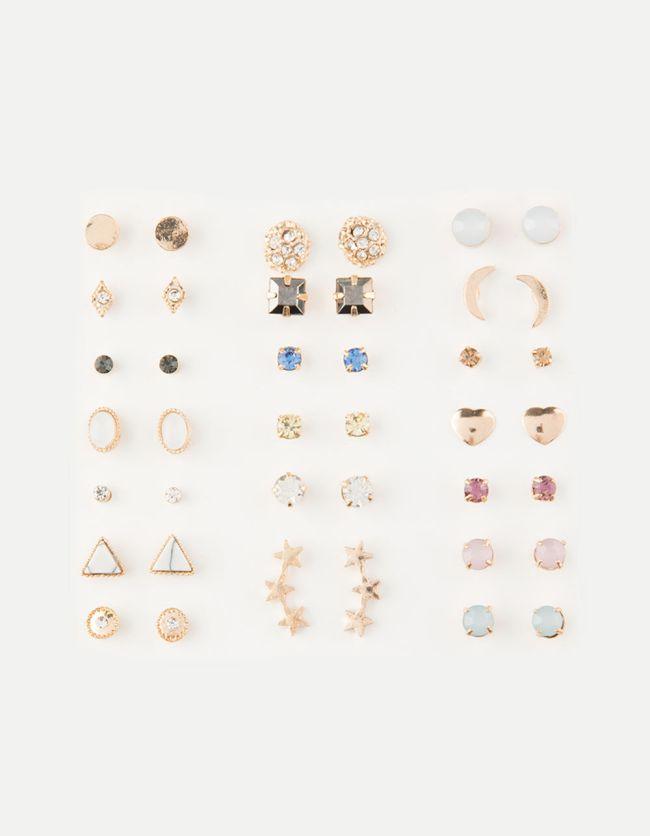 Full Tilt 20 Pair Marble & Stud Earrings Set