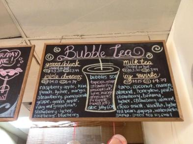 Bubble tea menu from Sweet Dreams Tea Shop