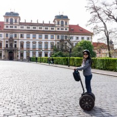 Cathy on a segway