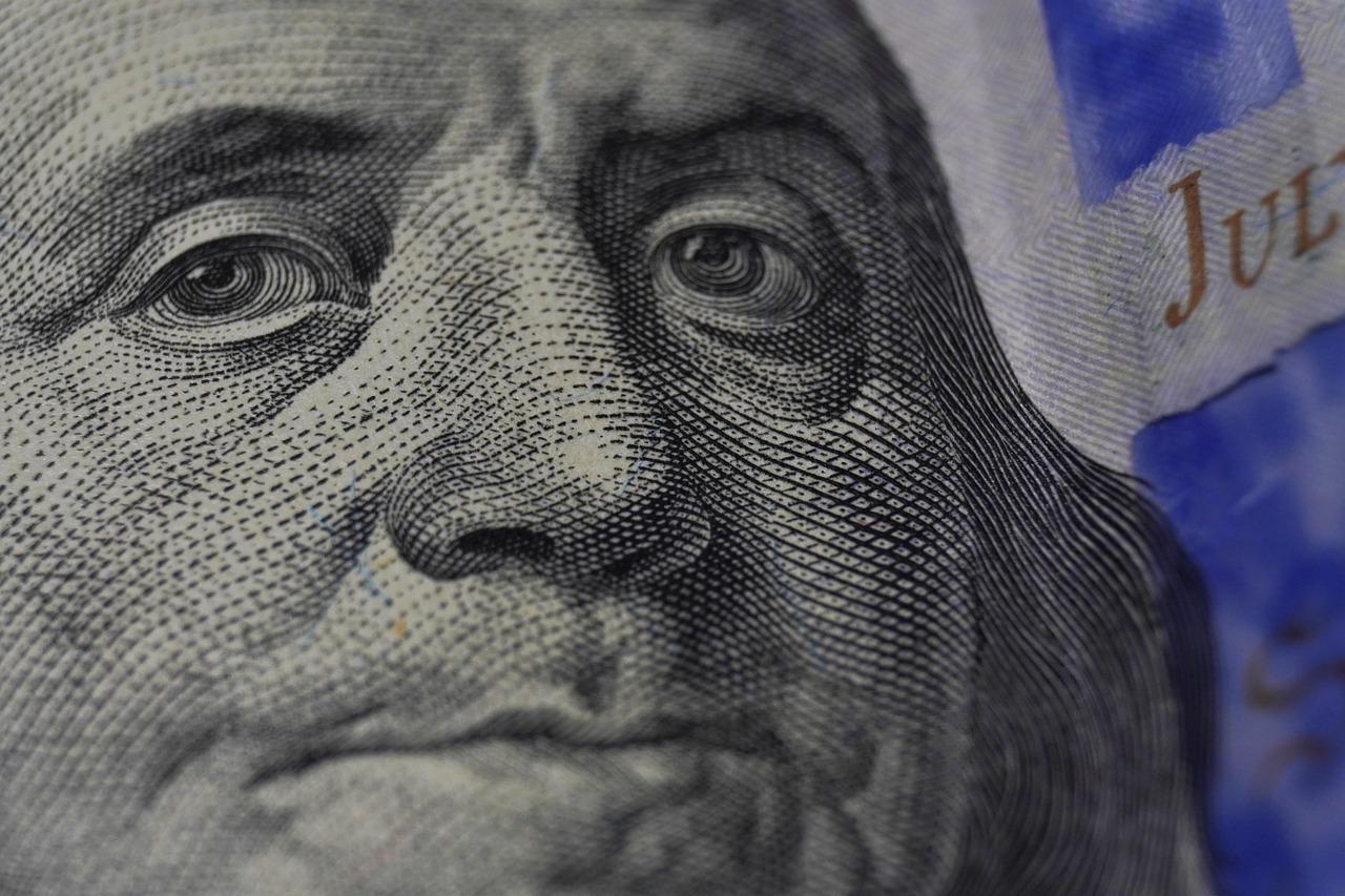 Nærbilde av Franklin på dollarseddel