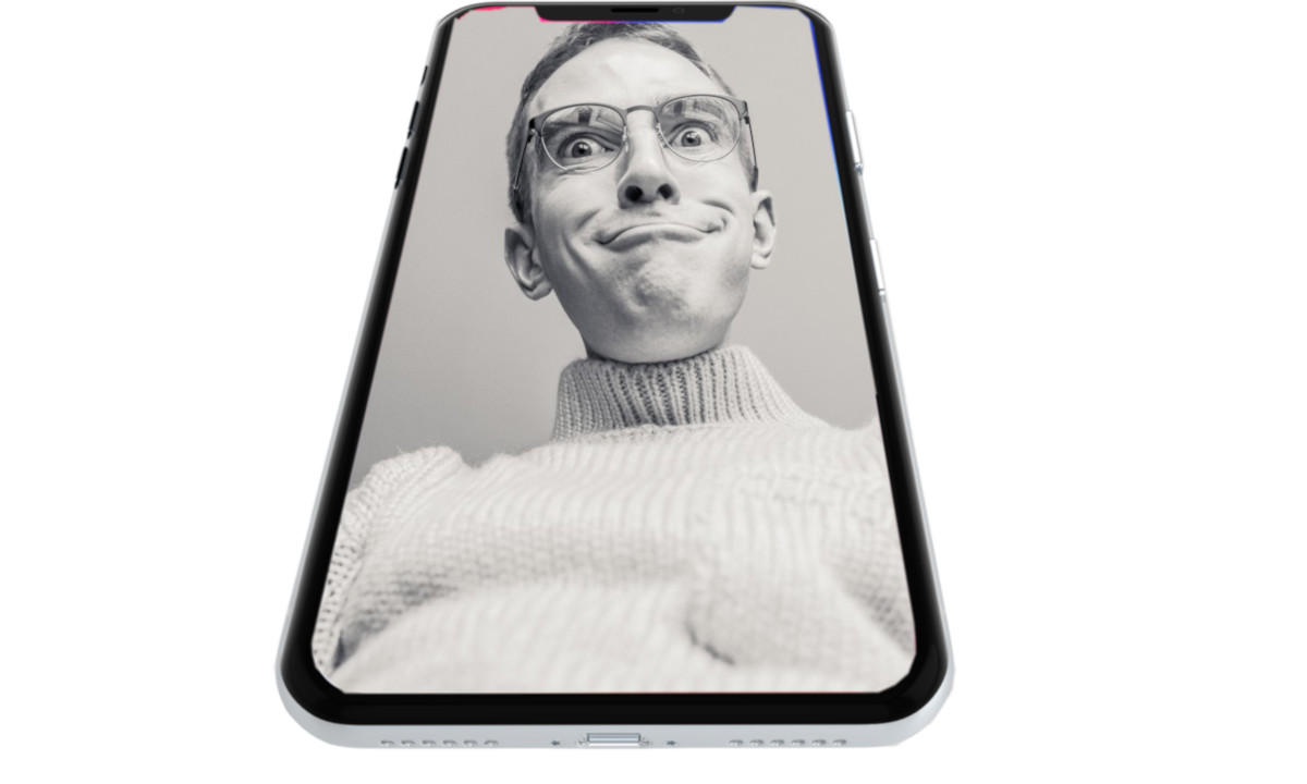 Montasje ung mann i smarttelefon