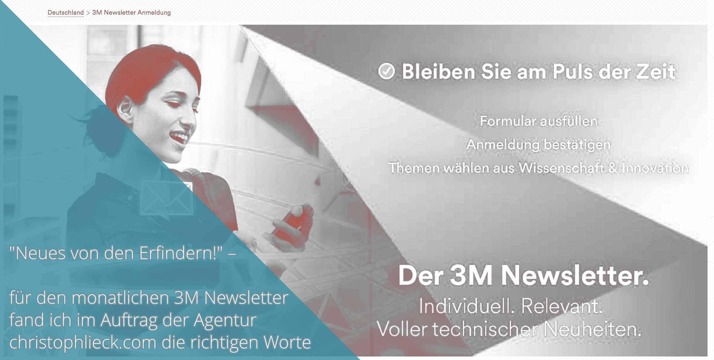 Screenshot 3M Newsletter Arbeitsprobe Tim Allgaier Texter PR Freelancer Werbetexter köln