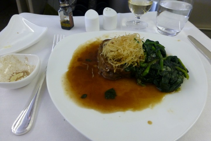 ROSSINI BEEF TENDERLOIN WITH DEEP FRIED POTATO AND MADEIRA JUS ON ASIANA OZ236 IN BUSINESS CLASS