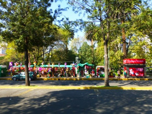 Colorful Christmas Food and Gift Stalls