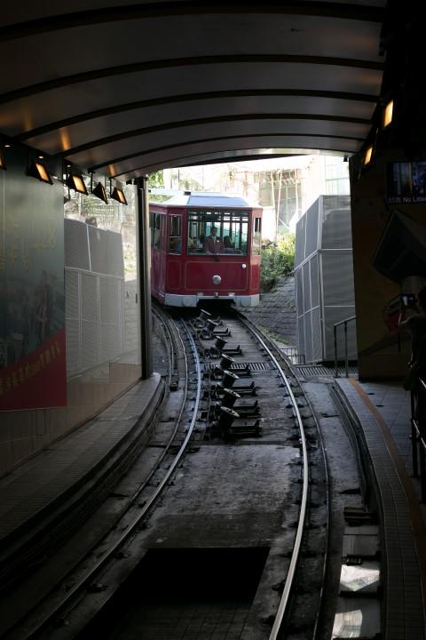 Peak Tram Approaching Stations