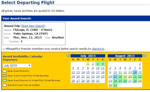 """Screenshot from UAL.com -  """"MileagePlus Premier members may receive better search results by signing in."""""""