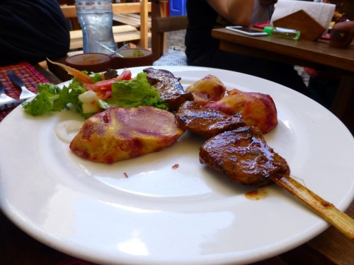 The alpaca skewers were tasty, but alpaca doesn't have a distinct flavor - it tasted like veal.