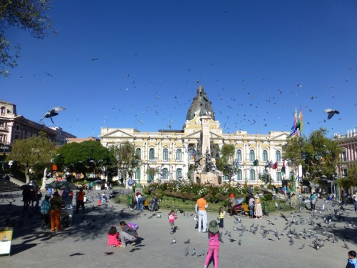 Locals feeding pigeons on a lazy Sunday afternoon at Plaza Murillo.