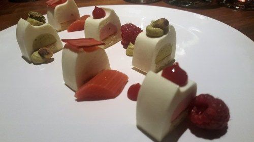 Vanilla Cake - raspberry, pistachio, rhubarb. Paired with 2003 Château de Fargues, Sauternes, Bordeaux, France.