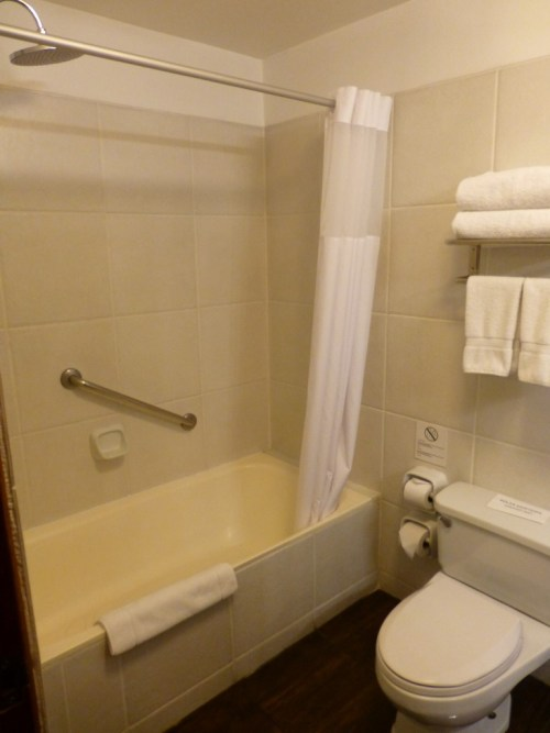 While not luxurious, a perfectly functional and clean bathroom.