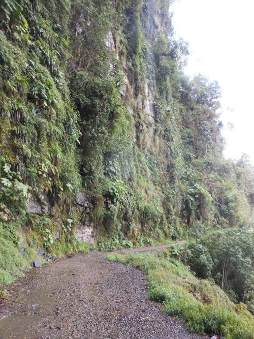 One of the more narrow sections of the road - at least it was wet and slippery to add to the fun!