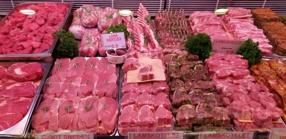 European Supermarket Meat Case
