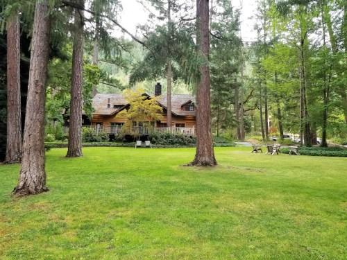 View of the Weasku Inn across the verdant lawn.
