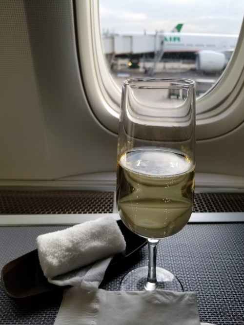 Champagne in EVA Air Business Class