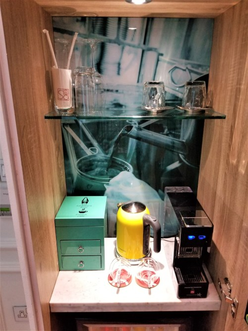 Coffee and tea bar in room at the SO Sofitel Singapore.