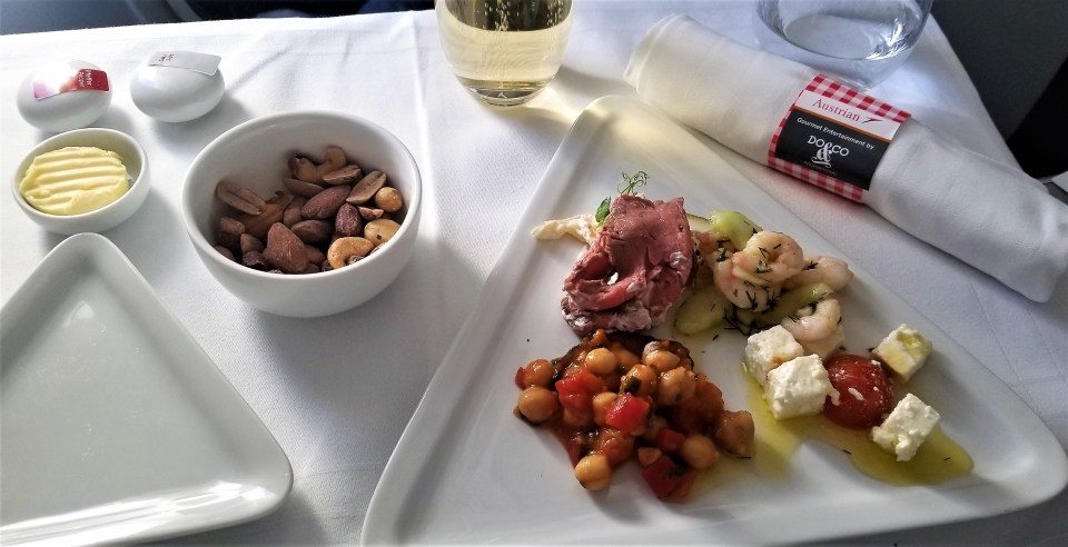 Catering on Austrian Airlines - Antipasti from the Trolley