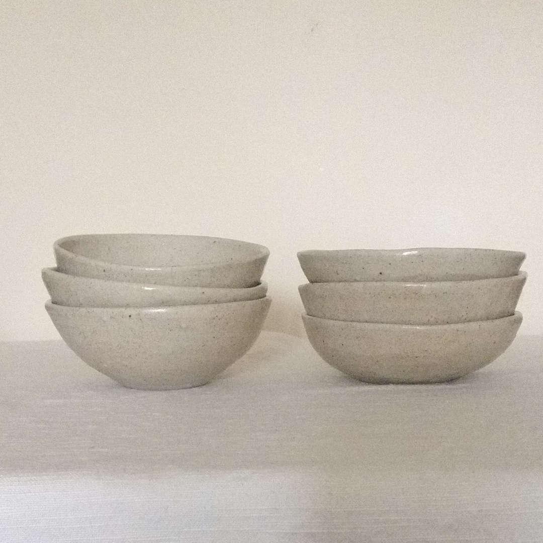 6 small ash glazed bowls