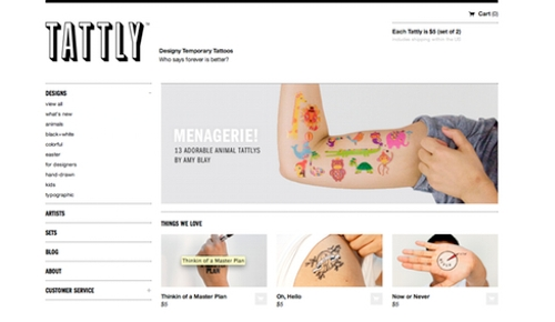 Tattly Ecommerce Site, Powered by Shopify