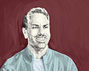 Artist's rendering of Ramit Sethi.