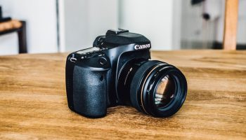 Canon camera sitting on a wooden table