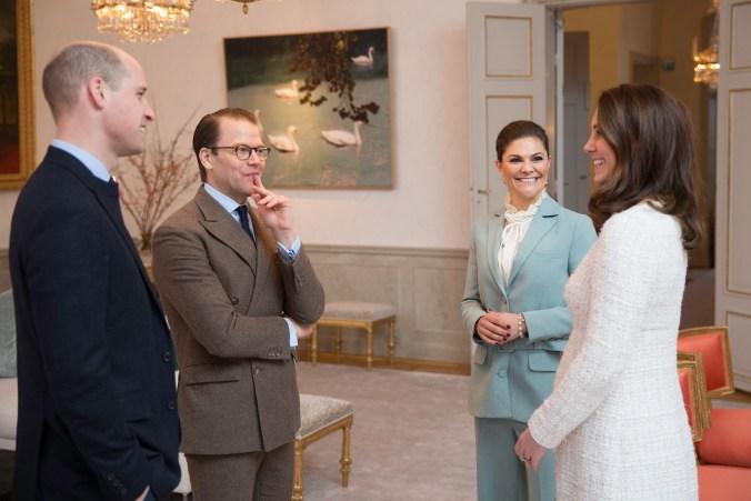 Haga slott, 31 januari 2018Tisdagen den 30 och onsdagen den 31 januari 2018 besöker Hertigen och Hertiginnan av Cambridge Sverige på uppdrag av den brittiska regeringen. På onsdagen var Hertigparet på besök hos Kronprinsessparet på Haga slott. / On