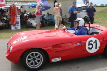 Don Gerard's of Rangiora brings his 1959 Mistral into the pits