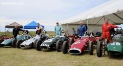 L-R: Graham Barron (England), Michael Sexton (Auckland), Crispian Besley ( UK), Max Pegram (Melbourne) and Colin McKay (Scotland) with a rare line-up of 1959-60 Gemini racers.