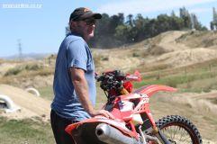 David Watson keeps an eye on son Luke