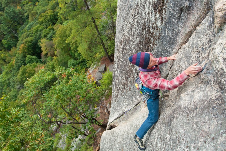 Bryan Gilmore leading Pinetree Eliminate, Cathedral Ledge, North Conway, New Hampshire