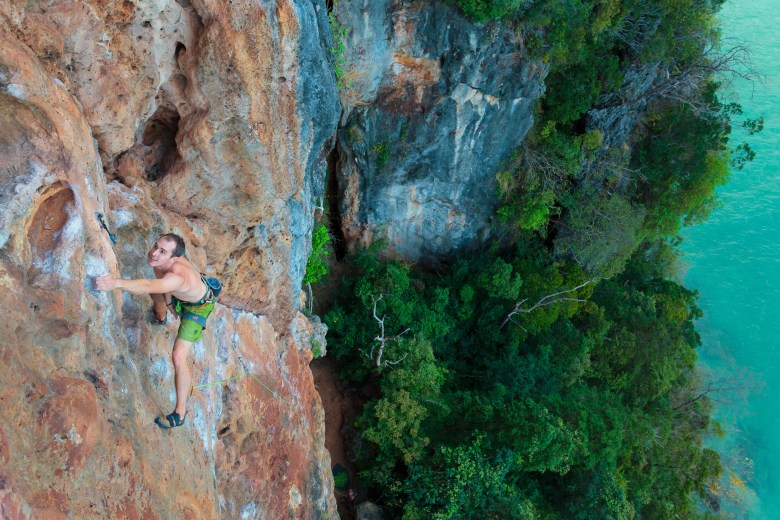 Luke Hudson climbing at Railay, Krabi, Thailand