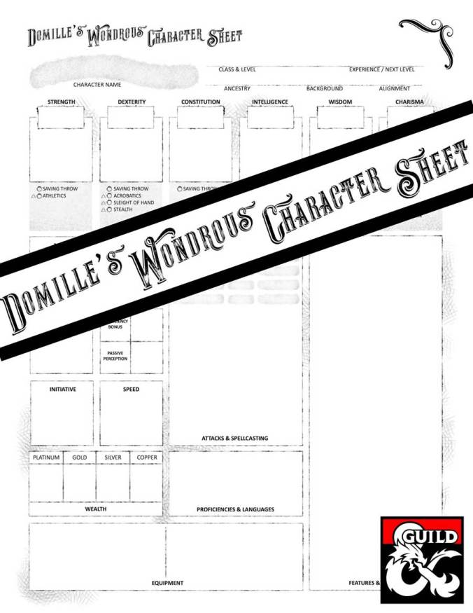 Domille's Wondrous Character Sheet