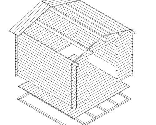 10x10 Storage Shed Andy XL 8m² / 28mm / 3 x 3 m