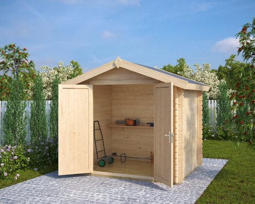 8x6 Wooden Storage Shed Andy S 4m² / 28mm / 2,5 x 2 m