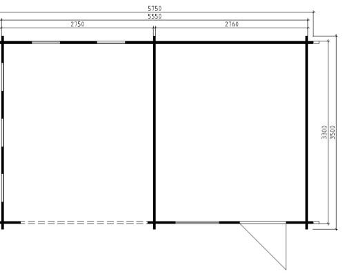 Summer House with Veranda Carol B 9m² / 40mm / 5,7 x 3,5 m
