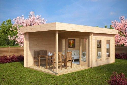 Contemporary Garden Log Cabin with Veranda Lucas E 9m² / 44mm / 6 x 3 m