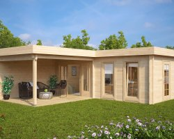 Large Corner Summer House with Veranda Hansa Deluxe A 22m2 / 70mm / 7 x 3 m