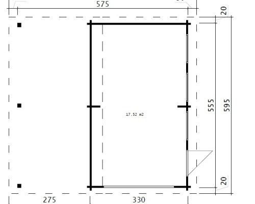 Combined Garage and Carport with Up and Over Door Type G / 44mm / 6 x 6 m