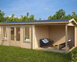 Garden Log Cabin with Veranda Eva D 12m² / 44mm / 3 x 7 m