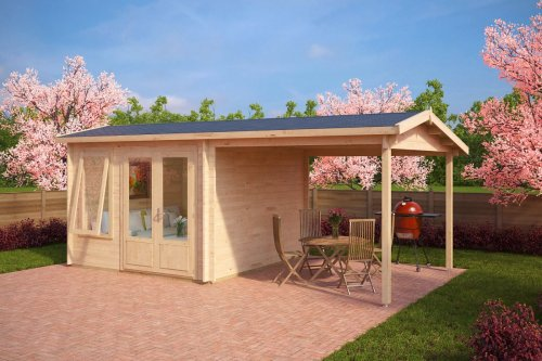 Garden Room with Canopy Nora D 9m² / 44mm / 3 x 3 m (10' x 10')